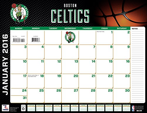 "Turner Boston Celtics 2016 Desk Calendar, January-December 2016, 22 x 17"" (8061521)"