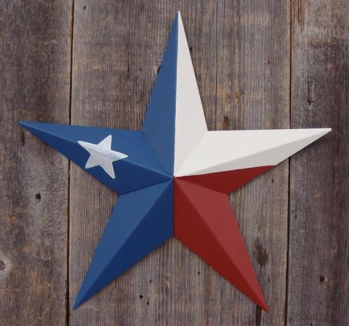 "53 Inch Heavy Duty Metal Barn Star Painted Solid Texas Flag. The Colors in the Texas Flag Theme Are Barn Red, Ivory, and Blue. The Solid Paint Coverage Gives the Star a Clean and Crisp Appearance. This Tin Barn Star Measures Approximately 53"" From Point to Point (Left to Right). The Barnstar Is Hand Crafted Out of 22 Gauge Galvanized Steel By the Old Order Amish From Central Ohio. This Size"