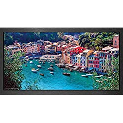 Italy Portofino Village Decorative Scenic Travel Photography Poster Print, Framed 12 by 24