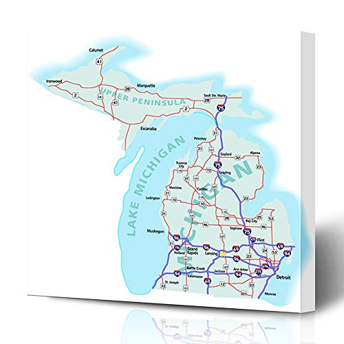 Ahawoso Canvas Prints Wall Art 16x16 Inches Geography Detroit Michigan State Road Map Interstates Upper Us Flint America American Atlas Capital Design Decor for Living Room Office Bedroom (Best Restaurants In Michigan Upper Peninsula)