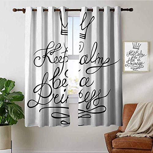 Modern Farmhouse Country Curtains Keep Calm,Be a Princess Motivational Romantic Quote with Hand Letters Save The Date Print,Black White,Design Drapes 2 Panels Bedroom Kitchen Curtains 42