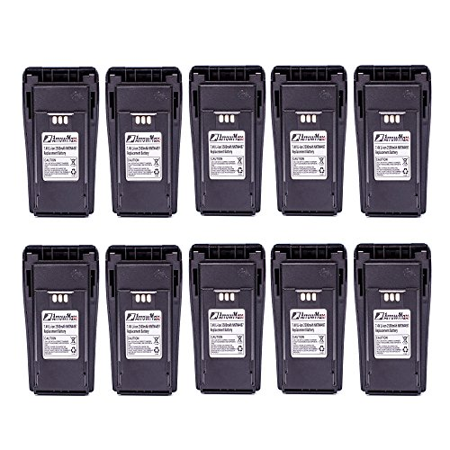 (10 Pack ArrowMax AMCL4497-2500-D NNTN4497 2500mAh High Capicity Liion Battery for Motorola CP200 MOTOTRBO CP200D EP450)