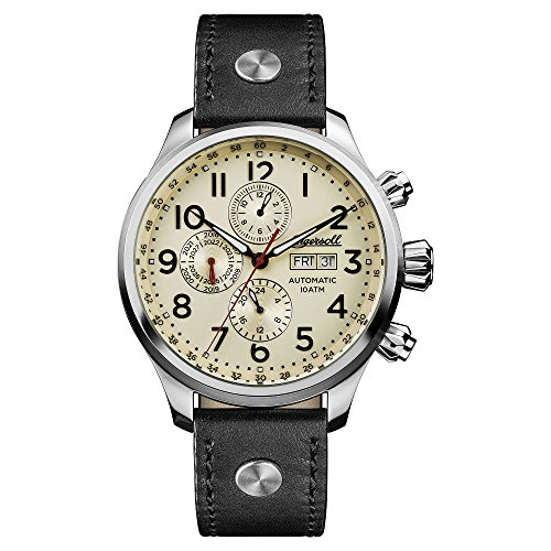 Ingersoll Men's Automatic Stainless Steel and Leather Casual Watch, Color:Black (Model: I02301)