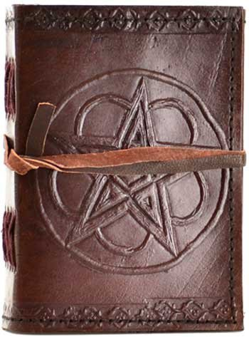 Fortune Telling Toys Supernatural Protection Supplies Journal Leather Double Pentacle 3 1/2 x 5