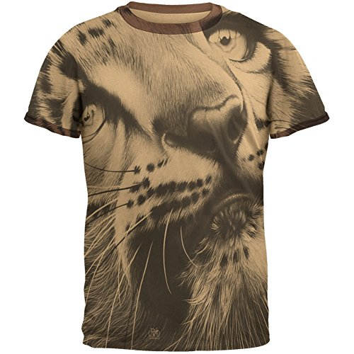Snow Leopard Cub Ghost Close Up Tan-Brown Men's Ringer T-Shirt - (Brown Mens Ringer)