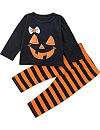 SUPEYA Baby Boys Girls Halloween Party Pumpkin Tops+Stripe Pant 2Pcs Sets Outfits