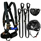 Fusion Climb Tactical Edition Kids Commercial Zip Line Kit Harness/Dual Lanyard/Trolley/Helmet Bundle FTK-K-HLLTH-06