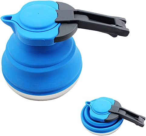 SNOWINSPRING Portable Silicone Collapsible Tea Kettle Outdoor Camping Travel Kettle Foldable