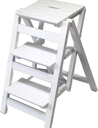 STOOL Escalera de mano Inicio Taburetes de escalera, Taburete de madera Escalera de madera Escalera Estante Escalera de mano Pedal de 3 capas Ampliado Multifunción Seguridad Portátil Estante de flore: Amazon.es: Bricolaje