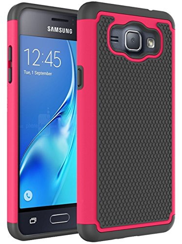 J1 2016 Case, Galaxy Amp 2 Case, Galaxy Express 3 Case, NOKEA [Shock Absorption] Hybrid Armor Defender Protective Case Cover for Samsung Galaxy J1 2016 / Amp 2 / Express 3 (Rose) (Samsung Galaxy 2 Case For Girls)