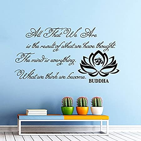 Wall Decals Quotes Buddha Quote All That We Are Buddha Quote Yoga Lotus  Flower Vinyl Sticker