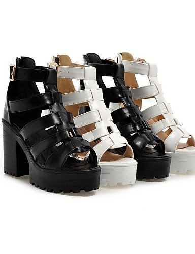 White Heels Black Dress Women's Casual Chunky Platform Sandals Shoes Black Leatherette ShangYi Heel xgPFwUX6q