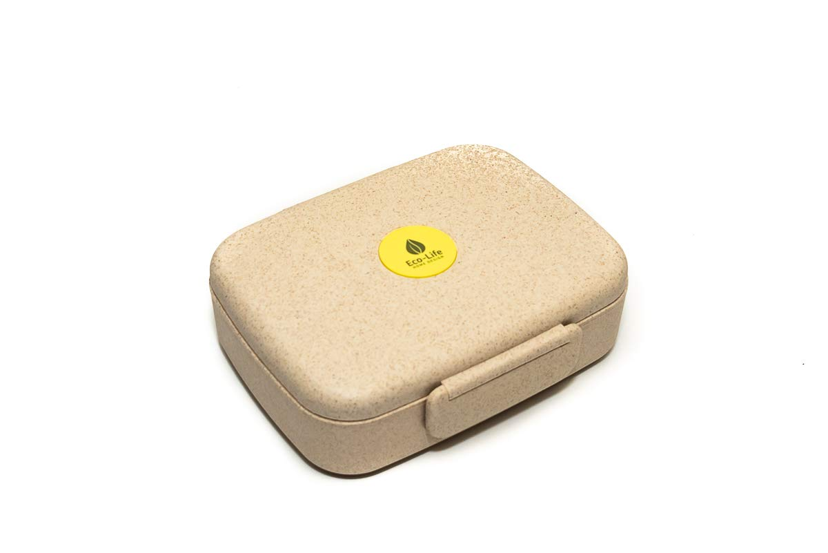Edo Box by Eco-Life Home Design – Eco-friendly wheat grass bento lunch box – 5 compartments, leakproof, freezable, microwave safe, great for kids, teens, adults