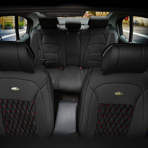 (FH Group PU204115 Victorian Style Luxurious Leather Cushion Pad Full Set Seat Covers- Fit Most Car, Truck, Suv, or Van)