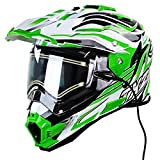 Snow Master TX-27 White Green DS Snowmobile Helmet - Small