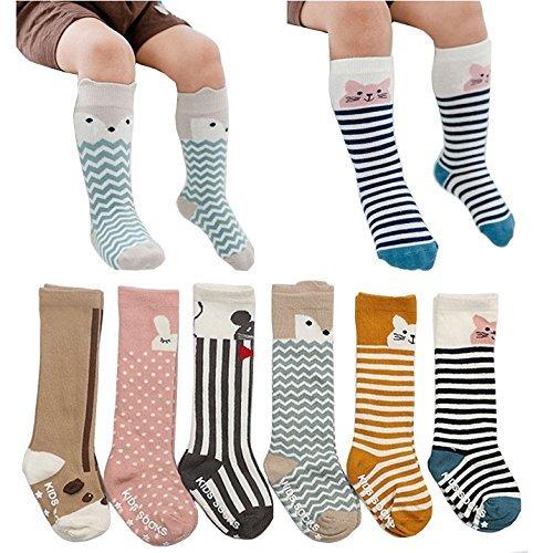 685b207e5 6 pairs non skid toddler socks baby boy girl socks with grid cotton knee  high sock