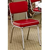 Coaster Home Furnishings Contemporary Dining Chair, Red, Set of 2