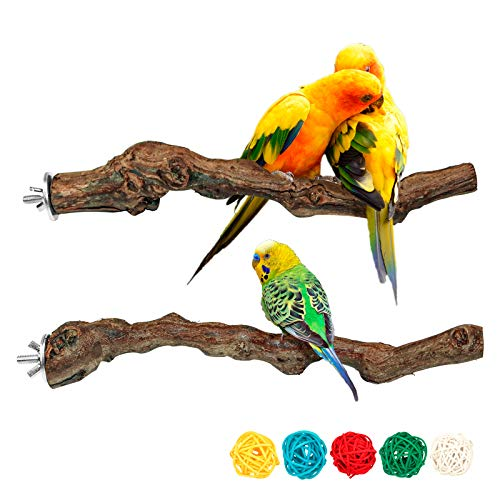 2 Packs Parrot Perch Stand,Natural Grapevine Wood Perch Parrots Cage Perch Toys Suitable for Small or Medium Parrots Parakeets Cockatiels Conures Lovebirds in Cage Accessories Supplies (style-1)