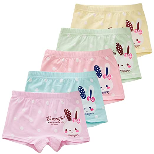 6a610d2eab Amazon.com  Auranso Girls Underwear Rabbit Pack of 5 Little Toddler Panties  Cotton Boyshort for Girls 2-8 Years  Clothing