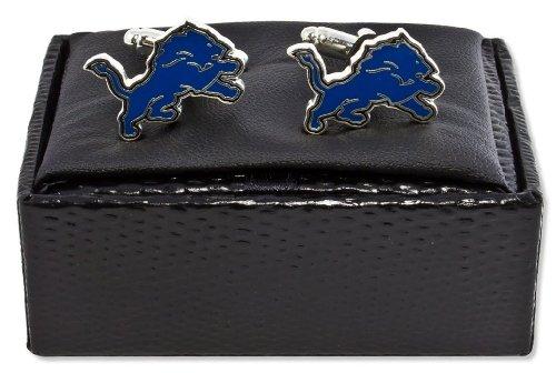 aminco NFL Detroit Lions Cut Out Logo Cuff Link, Silver