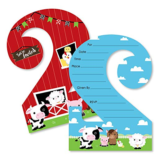 2nd Birthday Farm Animals - Shaped Fill-in Invitations - Barnyard Second Birthday Party Invitation Cards with Envelopes - Set of 12 (Birthday Invitation Farm Party)