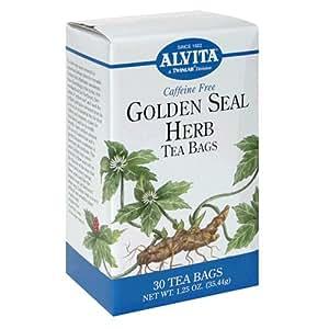 Alvita  Tea Bags, Golden Seal Herb, Caffeine Free , 30 tea bags (Pack of 2)