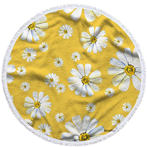 Towel Blanket White Camomile Flower in Yellow Garden Botanical Plant Floral Towel Soft Microfiber Tapestry with Tassel 63 Inches for Kids Adults ()