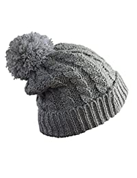 Women's Winter Beanie Warm Fleece Lining - Thick Slouchy Cable Knit Hat(4color)