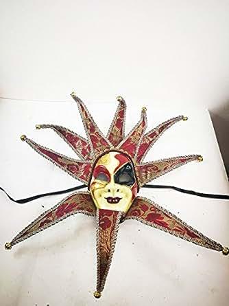 FABULUOS Venetian Jester Full Costume Mask Mardi Gras Masquerade Halloween M7478/M7479/M7480/M7525/M7529/M7540/M7546 (Venetian Jester-Dark Red)