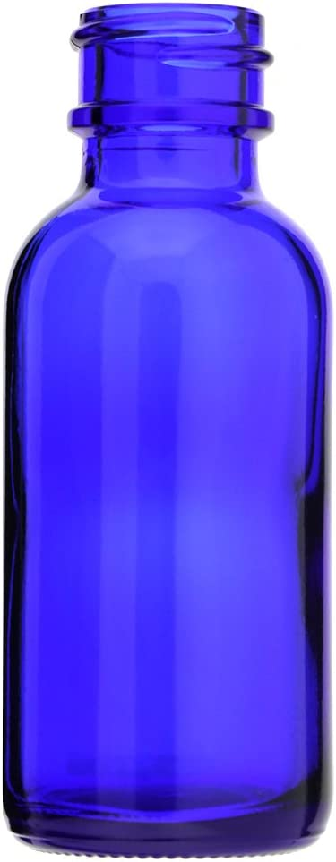 6 PACK BOSTON ROUND 1 OZ 30 ML COBALT BLUE GLASS BOTTLES WITH POLY CONE LINED BLACK CAPS