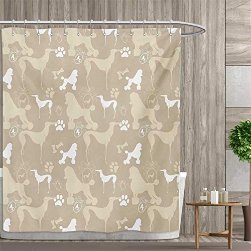 smallfly Dog Lover Satin Fabric Sets Bathroom Pet Animals Accessories Leash Paw Print Bone Ornamental Abstract Illustration Shower Curtains Sets Bathroom 66