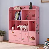 Emall Life Kids Bookshelf and Storage, Children's Bookcases Displaying Books Toys Organizer Shelving Unit for Boys and Girls (Pink)