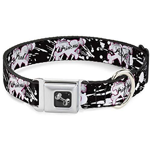 Dog Collar Seatbelt Buckle Punk Princess Heart Cross Bones Splatter Black White 9 to 15 Inches 1.0 Inch Wide