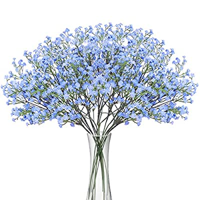 Bomarolan Artificial Baby Breath Flowers Fake Gypsophila Bouquets 12 Pcs Fake Real Touch Flowers for Wedding Decor DIY Home Party