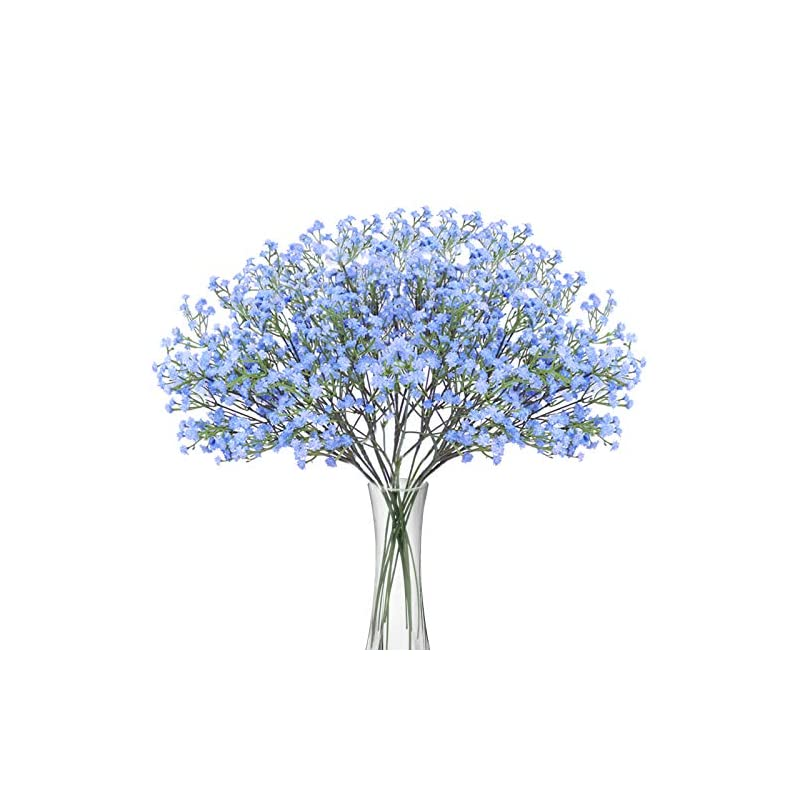 silk flower arrangements bomarolan artificial baby breath flowers fake gypsophila bouquets 12 pcs fake real touch flowers for wedding decor diy home party(blue)
