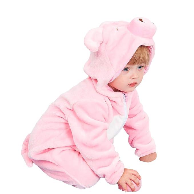 cce4fd322eb5d LOLANTA Baby Girls Hooded Cartoon Romper Toddler Piggy Owl Flannel ...