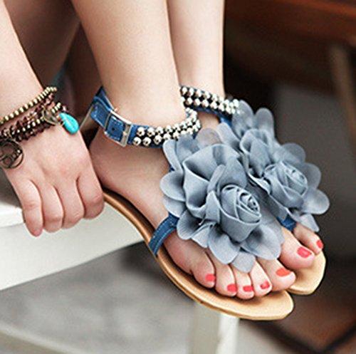 Bleu Fleur Femme Sandales Chic Plat Talon Aisun Dentelle dwOI0Ywq