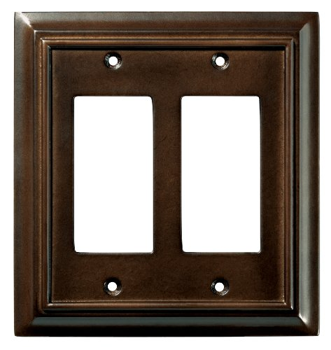 Brainerd 126379 Wood Architectural Double Decorator Wall Plate / Switch Plate / Cover, (Carmen 6 Light)