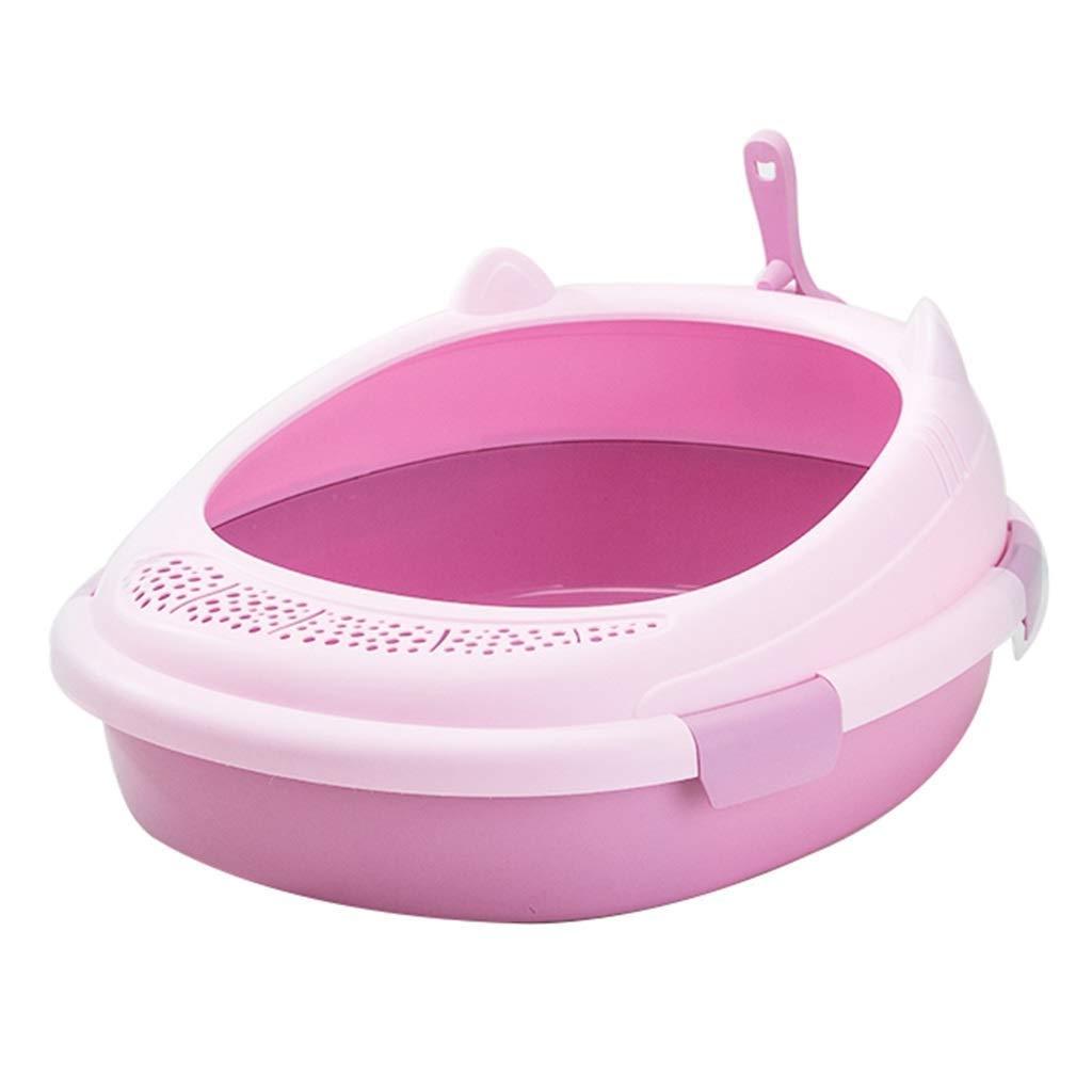 Color: Rosa Gpzj Arena para Gatos semicerrada Caja de Arena para Gatos de Gran tama/ño de Acero Inoxidable Sin Olor Antiadherente con Pala F/ácil de Limpiar Loo