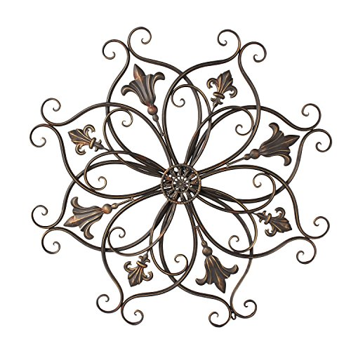 Home Art Decorative Bronze-Color Iron Wall Hanging Decor Widget, Round Fleur-de-Lis Starburst Design