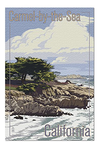 Carmel-by-the-Sea, California - View of Cypress Trees (20x30 Premium 1000 Piece Jigsaw Puzzle, Made in USA!)