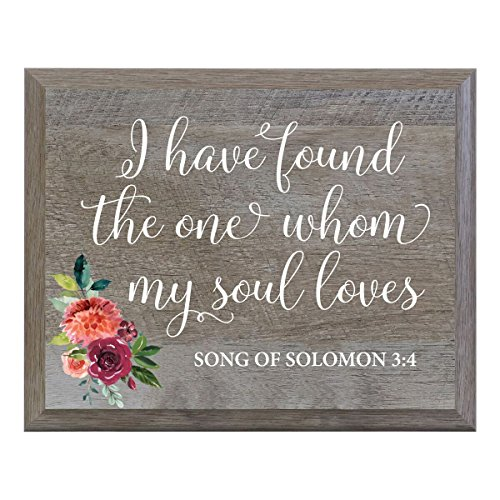 LifeSong Milestones I Have Found The one whom My Soul Loves Decorative Wedding Party Signs for Ceremony and Reception for Bride and Groom (8x10)