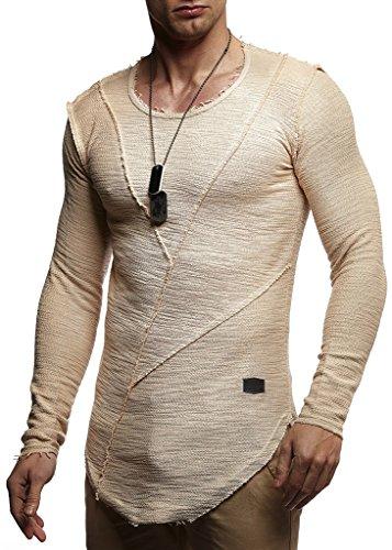 (LEIF NELSON Men's Oversized Long Sleeve T-shirt Sweatshirt LN6323; Medium, Beige)