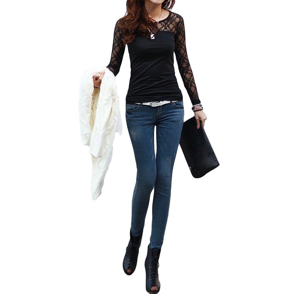 oxgrow (TM) mujeres camisetas elástico Floral Lace Patchwork o cuello manga larga Slim Fit Simple Tops camisetas femininas negro/blanco: Amazon.es: Deportes ...