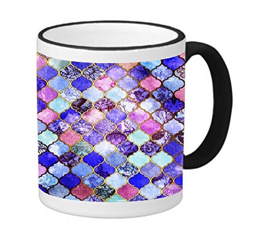 (Mosaic Shields Tiles Inset Pictures Printed Design 11 ounce Black Rim/Handle Ringer Ceramic Coffee Mug Tea Cup by Smarter Designs)