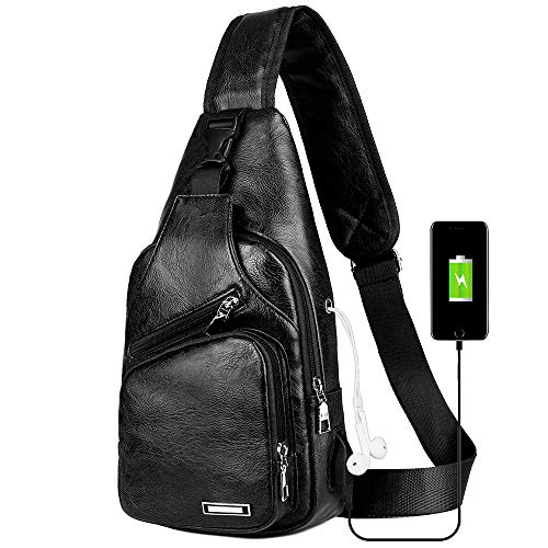 Funnideer Shoulder Chest Bag Travel Crossbody Stylish Lightweight Backpack Sling Bags for Men with USB Charging Port and Earphone Hole – Ship from India (Black)
