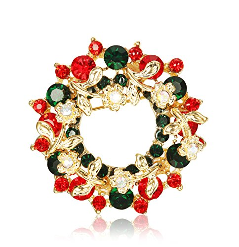 Thunaraz Rhinestone Crystal Brooch Pin for Women CZ Holiday Christmas Brooch Gift Wreatch Brooch Round Wreath Pin