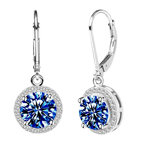 Jane Stone Women's 925 Sterling Silver Leverback Round Halo Earrings with Cubic Zirconia