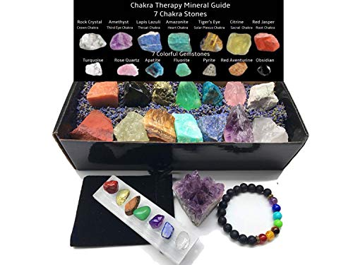 Chakra Therapy Collection(Large)24 pcs healing crystals kit, 7 Raw Chakra stones,7 colorful Gemstones,7 mini tumbled chakra stones,Chakra lava bracelet,Selenite charging stick,Dry Lavender, Guide, COA