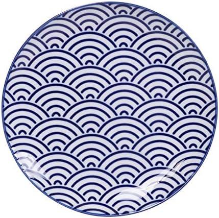 Motif g/éom/étrique Japonais avec Emballage Cadeau Tokyo Design Lot de 4 Assiettes Nippon Blue Bleu//Blanc /Ø 20,6 cm 2,2 cm de Haut en Porcelaine Asiatique